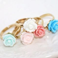 Rose rings in pastel colors , dainty and so Girly ETSY