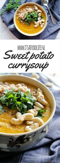 Recept voor zoete aardappel curry maaltijdsoep | It's a Food Life. Deze zoete aardappel curry maaltijdsoep was zo'n groot succes dat ik er nog van ondersteboven ben. Zoete aardappel + curry = a winning team. Ik ben sowieso gek op curry, gek op zoete aardappel én gek op soep. Als jij ook een liefde voelt voor (één van) deze drie dingen zou ik dit recept gauw proberen! Nou toe dan! Waar wacht je nog op? Soup Recipes, Vegetarian Recipes, Healthy Recipes, Recipe Maker, Good Food, Yummy Food, Convenience Food, Plant Based Recipes, Eating Habits