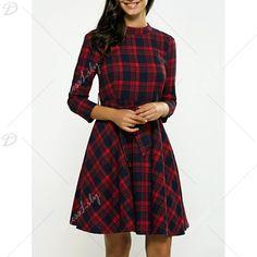 Stand Collar Tie-Waist Plaid Dress, RED, XL in Vintage Dresses | DressLily.com