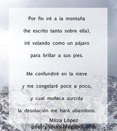 """Poema """"Montaña"""" de Milza López, contenido exclusivo, 2015."""
