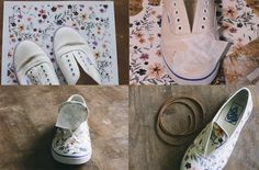 diy floral printed white canvas shoes