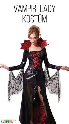 Mädchen Gothic-Kleid Vampirin mit Stehkragen Kostüm Vampirella Gräfin Dracula