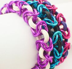 Premium Byzantine Stretch Chainmaille Bracelet Kit - Rubber and Aluminum on Etsy, £4.41