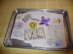 Save some green with this idea! Store bought Shrinky Dink kits cost $8 or more. However, number 6 plastic can be colored with permanent mark...