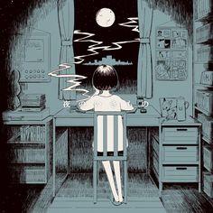nippura: 夜のいきもの #illustration. Nostalgic and whimsical.