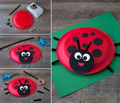 Learn how to make a simple Paper Plate Ladybug with kids. It's perfect for summer, insect lovers, and for strengthing fine-motor skills. School Age Crafts, School Age Activities, Spring Activities, Paper Plate Crafts For Kids, Easy Crafts For Kids, Projects For Kids, Ladybug Crafts, Red Paper, Black Paper