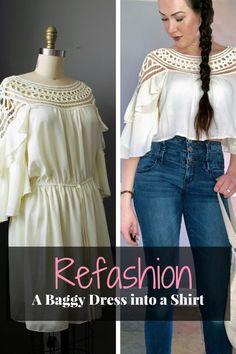 77a929f79a Refashion A Baggy Dress into A Lace Shirt