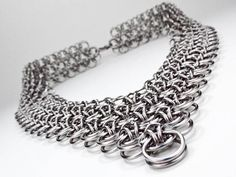 Wide Chainmaille Necklace  Japanese Dragonscale Design