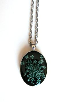 Turquoise Queen Anne's Lace Resin Pendant Necklace  by ScrappinCop, $10.00