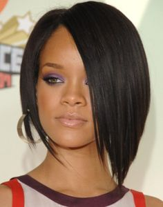 Rihanna Hairstyles: Super- sleek Asymmetric Black Bob