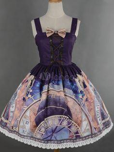 Lolita Purple robe bretelles robe en mousseline de soie imprimée-No.4