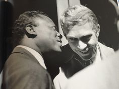 Two cool dudes - Miles and Steve backstage at the Newport Jazz Fesival early 1960s [this pic is cropped] // photo by Jim Marshall