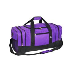 Everest Sporty Gear Bag 025 - Dark Purple (36 CAD) ❤ liked on Polyvore featuring bags, purple, duffel bags, padded bag, duffle bag, zip bags and purple duffle bag