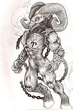 """A friend recently asked me to design a tattoo for him, hes an ares and wanted something """"sick"""". After redesigning him about three times this ram god thing here is the badass mofo I came up with. He..."""
