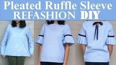 DIY | PLAIN TOP TO PLEATED RUFFLE SLEEVES(with a bow detail in the back)...