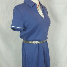 TaGs!!LG blue polo style shirt dress w/white trim pit to pit - 20/40  top to bottom-38 weight-10.6 oz's #tommyhlifiger #bluedress #polostyleneck #teeshirtdress #shirtdress #bundleandsave  #brandnewwithtagsattached  #tagsattached  #perfectcondition  from spring 2012 collection  #100percentcottonknit #sfw #businesswear #officewear #looksgreatwithabelt but #thisbeltdoesntcomewiththeblouse Tommy Hilfiger Dresses Midi