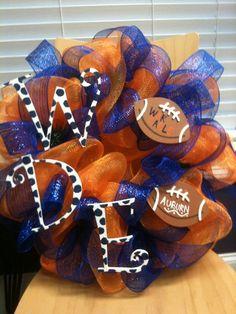 Auburn deco mesh wreath on Etsy, $65.00