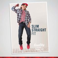Signature by Levi Strauss & Co.™ Slim Straight Fit sits just below the waist, has a hidden, adjustable waistband and a slim fit through the seat and thigh.