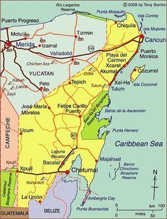 Interactive map of Quintana Roo, Mexico