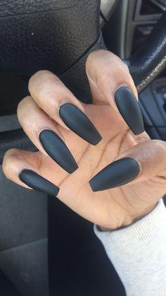 BLACK IS BETTER.. #matte #coffin #nails