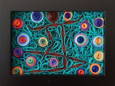 'Surfer Petroglyph' quilled paper art by Little Circles