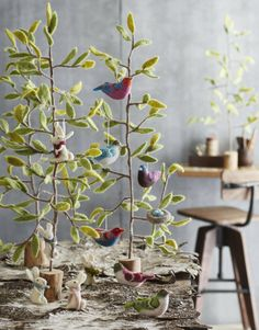 Felted Bird Ornaments by Roost