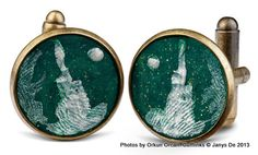 Handpainted cufflinks in resin. By Janys De. Featuring #BurjKhalifa and from the Iconic #UAE collection.