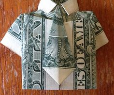 Dollar Bill Origami- Shirt and Tie : 15 Steps (with Pictures) - Instructables Origami Instructions Step By Step, Origami Easy Step By Step, Origami Tutorial, Folding Money, Origami Folding, Useful Origami, Paper Folding, Simple Origami, Origami Love Heart