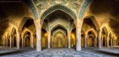 The Vakil mosque was built in the 18th century in Shiraz, Iran. The mosque covers an area of 8,660 square meters.