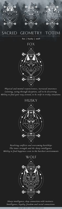 """Sacred Geometry Animal Totem Welcome my friend :) I'd love to introduce """"Sacred Geometry Animal Totem"""" completely unique handcrafted tattoo design elements! Wolf Totem, Spiritual Animal, Spiritual Life, What Is Spirituality, Totem Tattoo, Geometric Symbols, Animal Art Prints, Animal Totems, Hand Illustration"""
