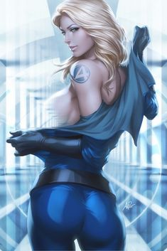 Super Sexy Invisible Woman. Can she selectively make body parts invisible, or does it just always happen boobs first? :)