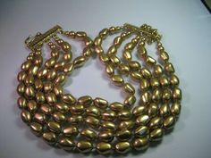 "Vintage Carolee Five Strand Goldtone Pearl-like Necklace, 17.25"", signed - RARE #Carolee #Choker5strand"