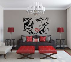 Woman character POP ART style Vinyl wall Decal sticker- red lips Roy Lichtenstein sexy lady  wall art deco on Etsy, $59.99