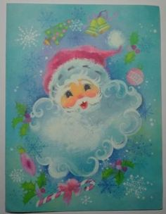 Vintage Santa Card - Love the face and the colors surrounding him! Vintage Christmas Images, Retro Christmas, Santa Christmas, Vintage Holiday, Christmas Classics, Christmas Glitter, Vintage Greeting Cards, Christmas Greeting Cards, Christmas Greetings