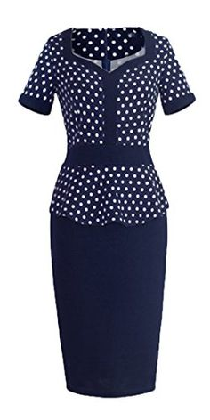 Homeyee Womens Rockability Elegant Polka Dot Sweetheart Neck Wear to Work Midi Pencil Dress 926 Small Blue * See this great product. (This is an affiliate link and I receive a commission for the sales)