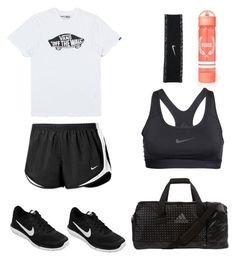"""track and field practice (aka the reason I want to die 99.9% of the time)"" by drewebusch on Polyvore featuring Vans, NIKE, adidas, women's clothing, women, female, woman, misses and juniors"