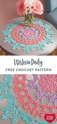 Aunt Lydia's Wisteria Doily free crochet pattern in Aunt Lydia's Classic Crochet Thread Size For our crochet gurus, try this new twist on the doily that's perfectly at home in traditional or modern room settings. We've designed it in soft shades of Aun Crochet Thread Size 10, Free Crochet Doily Patterns, Crochet Doilies, Crochet Flowers, Crochet Doily Diagram, Crochet Lace Edging, Crochet Designs, Crochet Home, Crochet Gifts