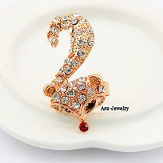 (White) Korean exquisite fashion fox decorated with color rhinestones openings design ring  www.asujewelry.com