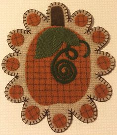 Fall Pumpkin Wool Penny Rug by QuiltgirlsCreations on Etsy