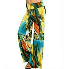"""M Hawaii boho bottoms Tropical wide leg pants.  Top folds over like yoga pants.  Waist is 28"""". Inseam is 32"""". Bottoms can be cut to fit your length and they will NOT unravel. Pants Wide Leg"""