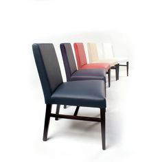 Leather Side Chair Style#2152-0; Price - $220/each (shipping, not included) – Wood frame with fully upholstered seat and back.  Available colors: Beige, Red, White, and Blue.  Matching arm chair is priced separately.  For more information, please contact us via info@blueleafmiami.com or visit our website: www.blueleafmiami.com