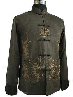 Chinese Tradition Embroidered dragon Men Dragon Kung Fu Shirt Jacket Coat  Vest Vêtements Chinois c6479899be2