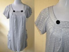 gray blouson dress (small to medium) by VintageHomage on Etsy