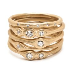 Victoria Cunningham, 14K Stacking Ring Set with diamonds, Altered space Gallery, Los Angeles