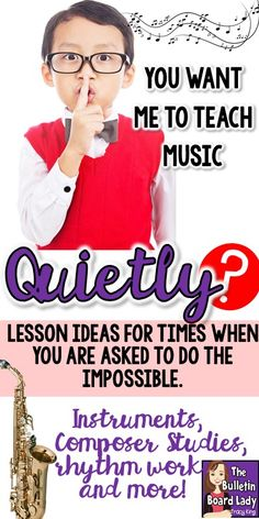 Music lesson plans for days when you need to be as quiet as possible.  These quiet activities include ways to teach pitch, rhythm, composers and more in a quiet music classroom.