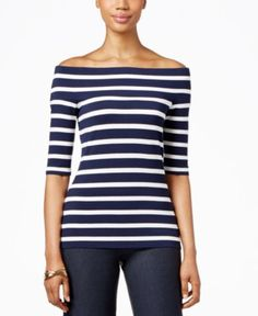 INC International Concepts Striped Off-The-Shoulder Top, Only at Macy's - Women's Brands - Women - Macy's