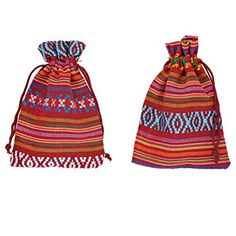 f5164ad267 Xiehou Women s 10 Striping Lozenge Colorful Cotton Cloth Pouch Drawstring  Jewelry Bags 3.9 by 5.5 Inches