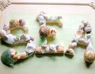Decorative seashell craft idea with letters.