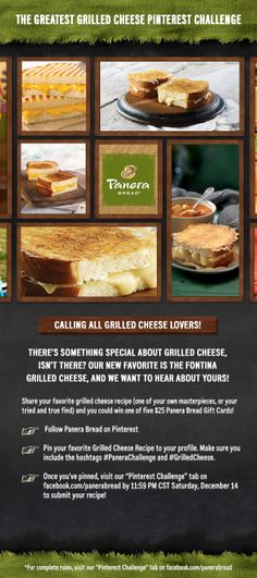 To celebrate our love of grilled cheese, we're asking fans to share their favorite grilled cheese recipes and pairings on Pinterest! Enter your pin, and you could win one of five, $25 Panera Bread Gift Cards. #GrilledCheese #PaneraChallenge Details here: http://bddy.me/QLoox5