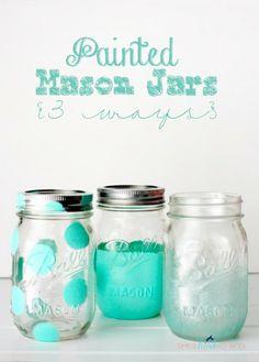 She's {kinda} Crafty: 20 Minute Tuesday | Painted Mason Jars